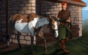Commission: Janden at the stables by Enife