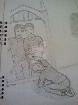 Fred and George Mirror of Erised Sketch by akatsukipikka