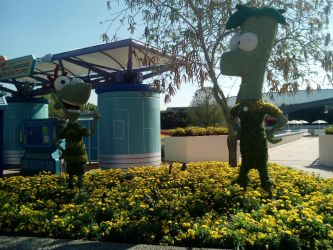 Flower Garden Topiaries: Phineas and Ferb by CottonCatTailToony