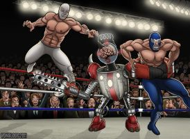 Santo y Blue Demon Contra Deathbot by vonblood
