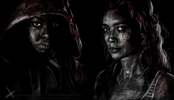 The Walking Dead cast: Michonne/Andrea by Little--Decoy