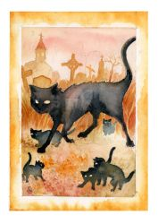 Archer Cat Family by RedEyeLoon