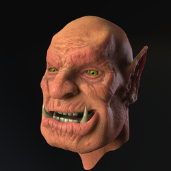 Orc head render test by godofchaosvn
