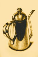 Metallic, shiny, glossy drawing of teapot isolated by oanaunciuleanu