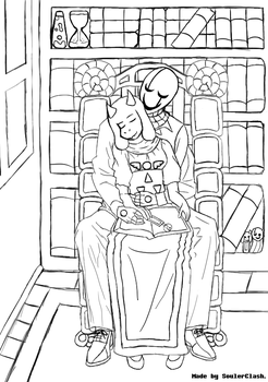 Gaster and Toriel - First Fall Evening. Sketch. by SoulerClash