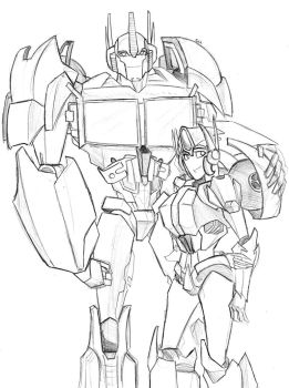 Optimus Prime and Ash Pax -for OnyxLeaderRogue-177 by chibigingi