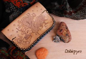 Leather Wallet Dragon by ChibiPyro