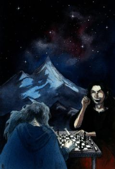 Melkor and Manwe playing chess by aegeri