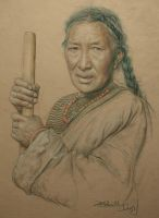 Portrait of Tibetan woman making cheese by william690c