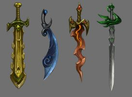Swords of Four Elements by Nightblue-art