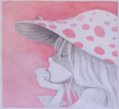 The girl in a mushroom hat by t-a-t-k-a