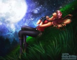 Commission: Vira in the Moonlight by galia-and-kitty