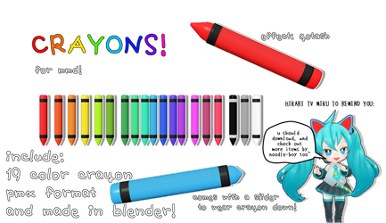[mmd DL] crayons! [19 colors!] by kawaii-noodle-boy