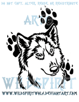 Husky Pawprint Tribal Design by WildSpiritWolf