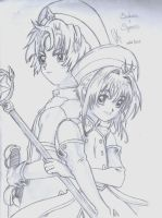 Sakura and Syaoran by cak04