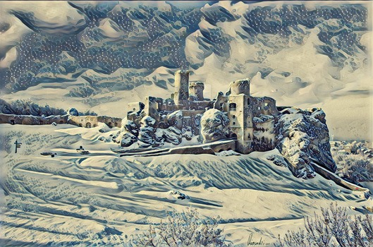 Ogrodzieniec Castle in Winter by Pappart