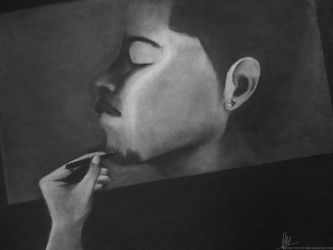 The Charcoal Work of a Self-Portrait by HighTechPictures