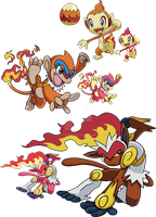 390, 391 and 392 - Chimchar Evolutionary Family