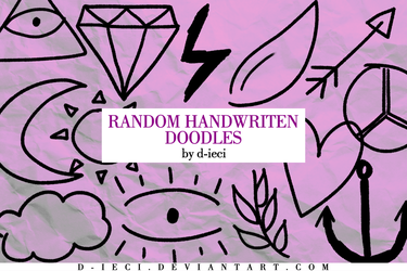 Handwritten Doodles Pack : PNG and ABR by d-ieci