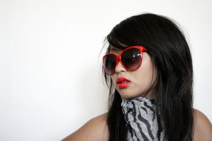 Red Glasses Girl stock by AiSac