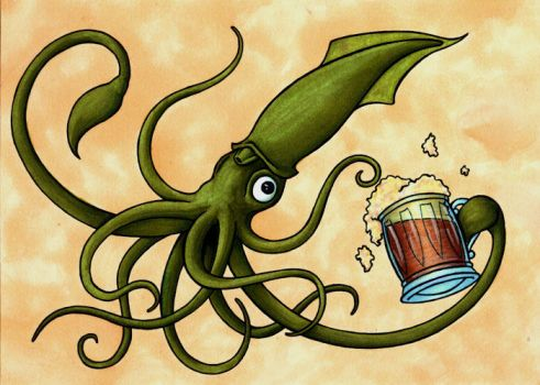 Colored Squid Beer by y2hecate