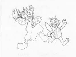 Gargamel and Azrael frightened pose by GrishamAnimation1