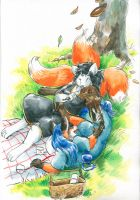 Commission- Relaxing foxes by Cervelet
