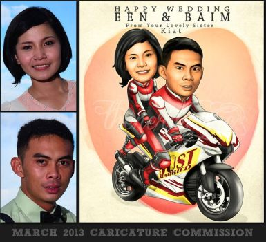 March 2013 Caricature Commission : Wedding Gift by thenerdyogre