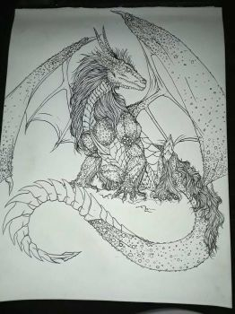 Dragon lineart  by mylovelyghost