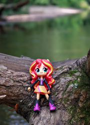 Sunset Shimmer, Log over the Stream by AquilaTEagle