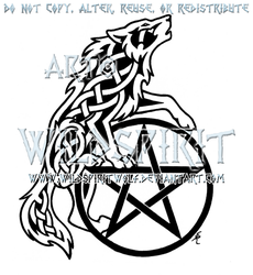 Celtic Howling Wolf And Pentacle Design by WildSpiritWolf