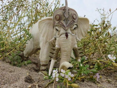 Warrior Elephant sniffing the flowers by Candyfloss-Unicorn