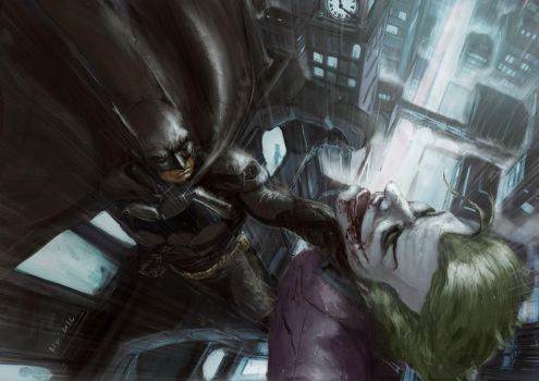 bats and joker, in the rain by themimig