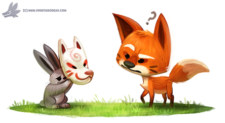 Daily Paint #1092. Kitsune Mask by Cryptid-Creations