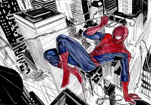 Spiderman and the city by Mogorron