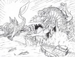 Geckoro vs Godzilla by Deadpoolrus