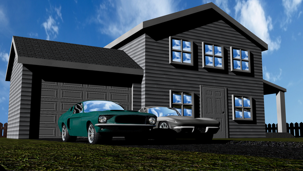 House with '63 Vette and '67 Mustang by Mechaghostman2