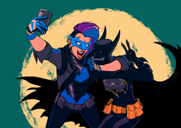 COMMISSION: Bluebird and Batgirl by jadenwithwings