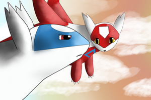 Latios - Latias: In the Clouds by Hawkheart1