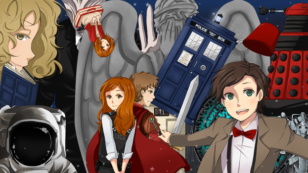 11th Doctor and Friends by laertena
