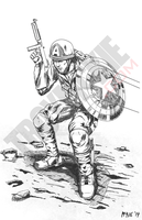 WWII Captain America - Digital Pencil Sketch by thedream86
