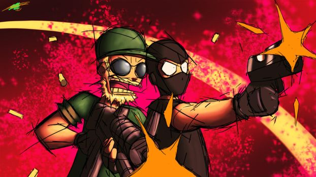Mick the Mercenary and Chester the Combat Vet by Twisted4000