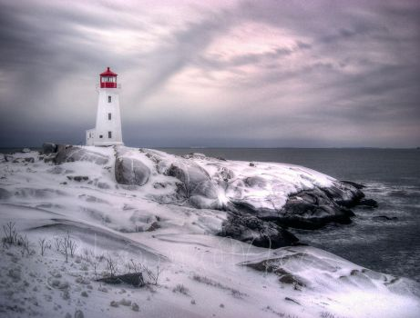 Snowy Peggys Cove in February by ShawnaMac