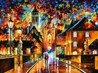 Night In The Old City by Leonid Afremov by Leonidafremov