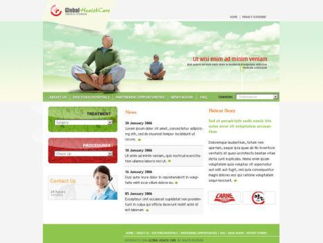 GlobalHealthC Mockup01 - Home by unofficialharmony