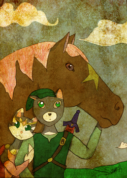 The Princess, The Cat and the Horse. by Bloodysamy