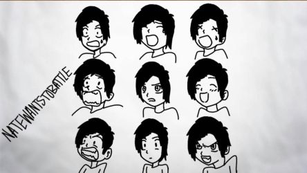 NateWantsToBattle Facial Expressions by PotatoMations