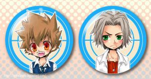 KHR Buttons: Tsuna and Gokkyun by tickledpinky