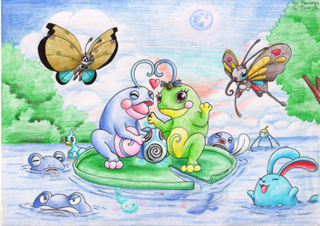 Politoed Family by DaisyDeddle