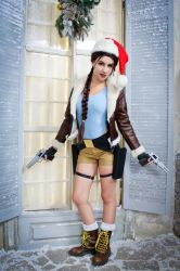 Christmas Lara Croft cosplay - window guard :D by TanyaCroft